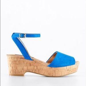 BNIB Ann Taylor Blue Suede Hallie Cork Flat Sandal